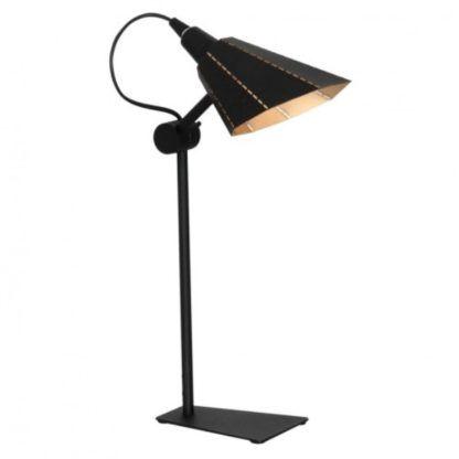 Metalowa lampa stołowa Zambia - regulowany klosz, złote wnętrze