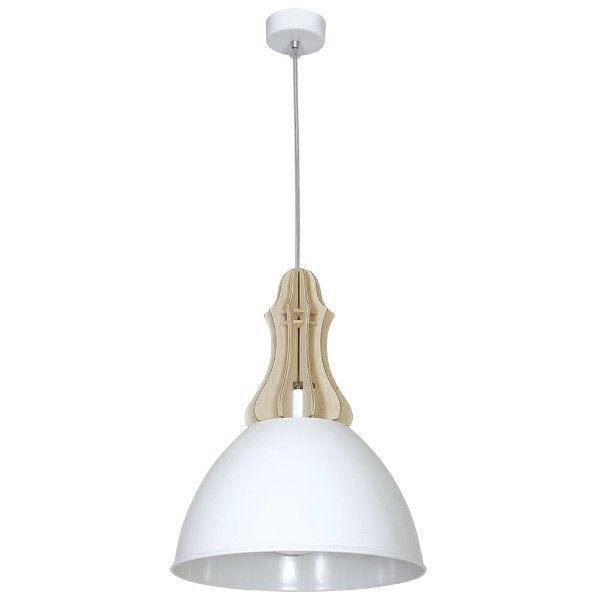 Lampa wisząca Zorro - biały klosz, drewniane elementy