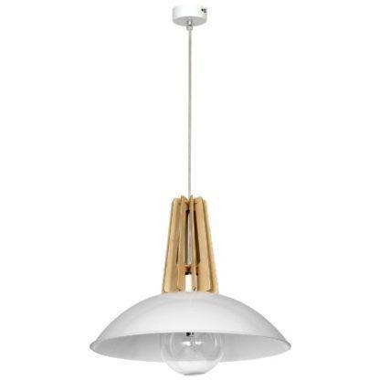 Skandynawska lampa wisząca Zorro - biały klosz, drewniane detale
