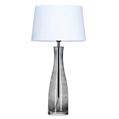szara lampa stołowa z białym abażurem