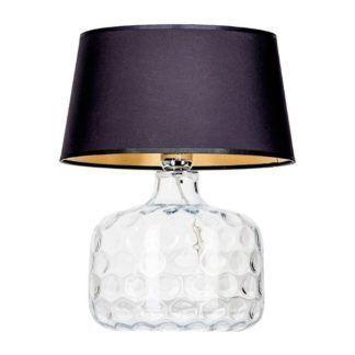 Niewysoka lampa stołowa Andorra - szklana, czarny abażur