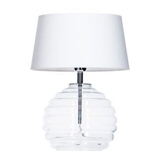 Elegancka lampa stołowa Antibes - transparentna, biały abażur