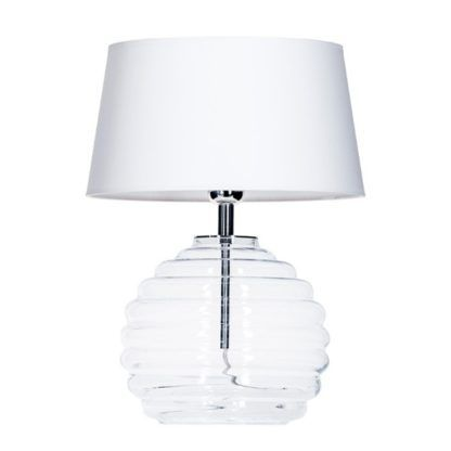 bezbarwna lampa stołowa z białym abażurem