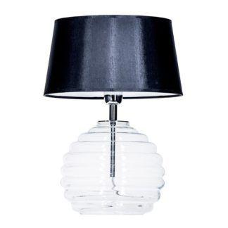 Lampa stołowa Antibes - szklana, z czarnym abażurem