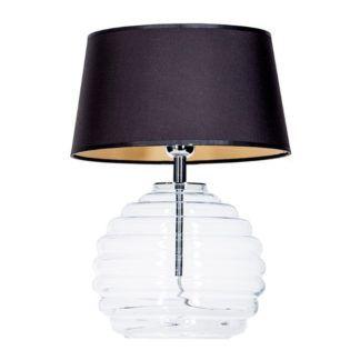 Szklana lampa stołowa Antibes - czarny abażur