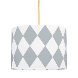 Lampa wisząca Young Mini - biały abażur w szare romby
