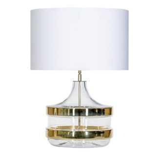 Elegancka lampa stołowa Baden Baden - szklana, biały abażur