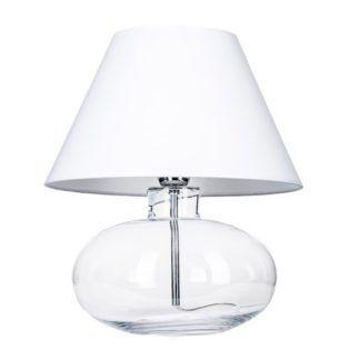 Szklana lampa stołowa Bergen - biały abażur