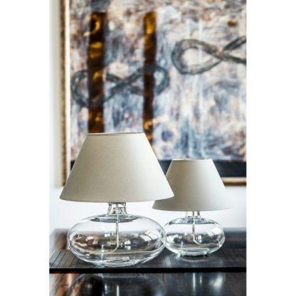 szklana lampa stołowa beżowy abażur