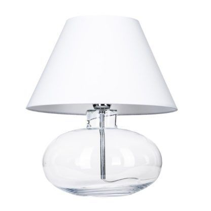 szklana lampa stołowa biały abażur