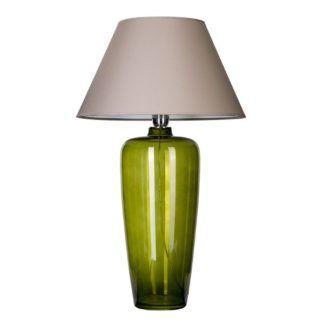 Lampa stołowa Bilbao - zielona z szaro-beżowym abażurem