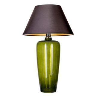 Zielona lampa stołowa Bilbao - czarny abażur, szklana