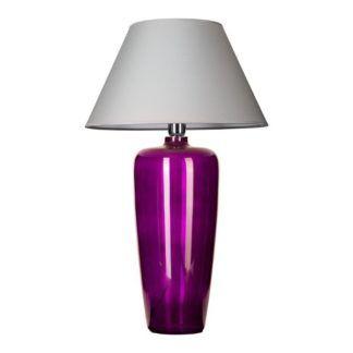 Gustowna lampa stołowa Bilbao - fioletowa, szary abażur