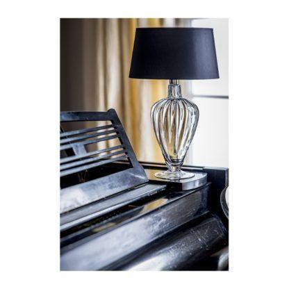 szklana lampa stołowa czarny abażur