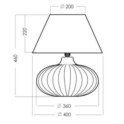 okrągła lampa stołowa z abażurem