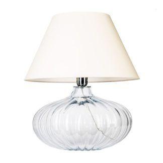 Kulista lampa stołowa Brno - szklana, biały abażur