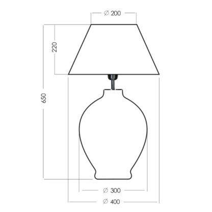 duża lampa stołowa ze szkła
