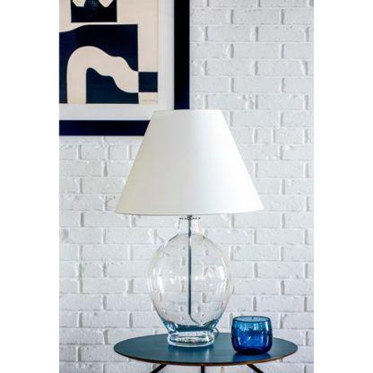bezbarwna lampa stołowa biały abażur