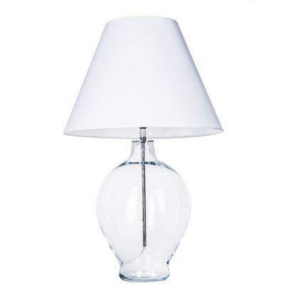 transparentna lampa stołowa biały abażur