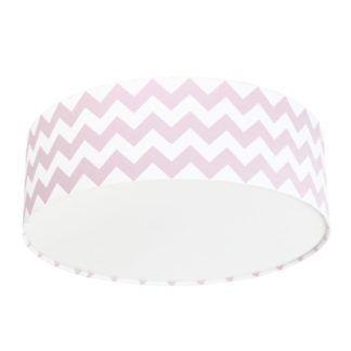 Okrągły plafon Chevron - różowo-biały abażur