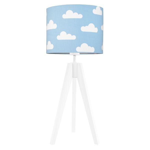 drewniana lampa stołowa błękitny abażur w chmurki