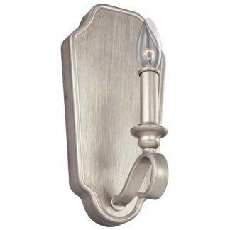 Kinkiet DeWitt - świecznikowy, na metalowej podstawie, srebrny