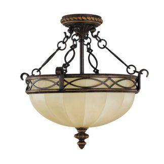 Beżowo-brązowa lampa sufitowa Eleonor - klasyczne zdobienia