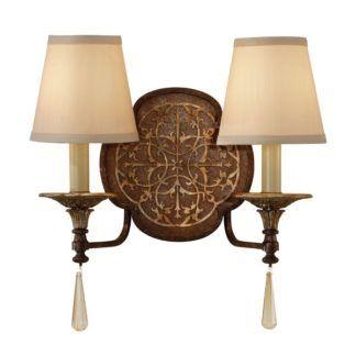 Podwójny kinkiet Marcella - brązowa, dekoracyjna podstawa