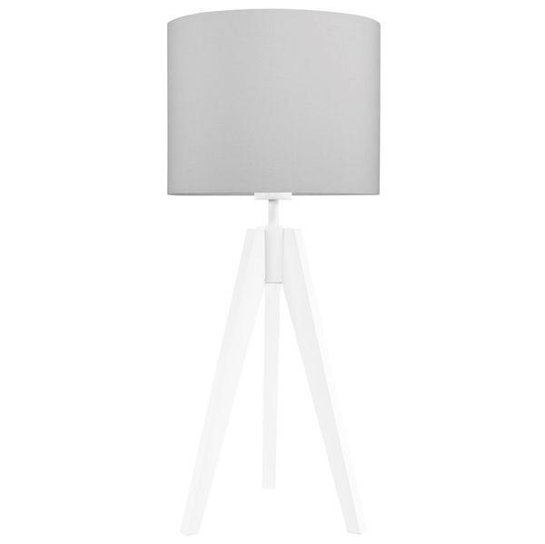 Biała lampa stołowa Elegance - trójnóg, szary abażur