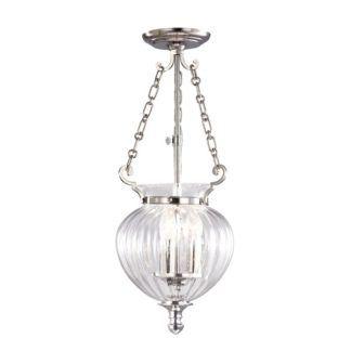Szklana lampa wisząca Amfora - srebrne detale