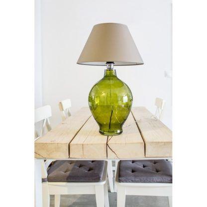 zielona lampa stołowa szklana