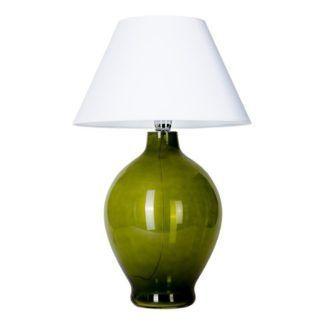 Elegancka lampa stołowa Genova - zielona z białym abażurem