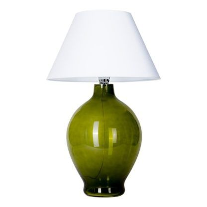 zielona lampa stołowa ze szkła