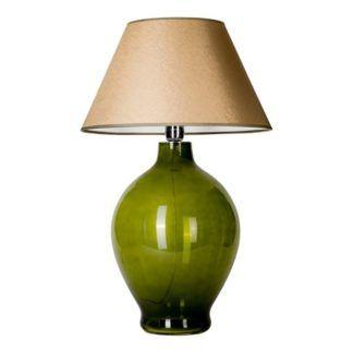 Zielona lampa stołowa Genova - szklana, złoty abażur