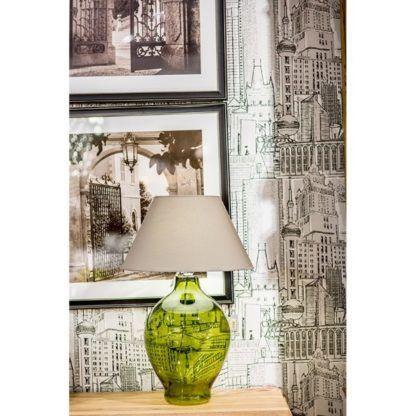 zielona lampa stołowa z abażurem