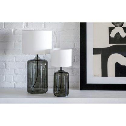 szare lampy stołowe z abażurem