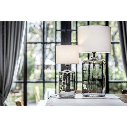 szklane lampy stołowe szare