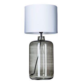 Lampa stołowa Goeteborg - szare szkło, biały abażur