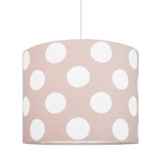 Lampa wisząca Young Mini - różowy abażur w białe grochy