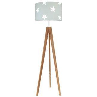 Drewniany trójnóg podłogowy Young - szary abażur w białe gwiazdki