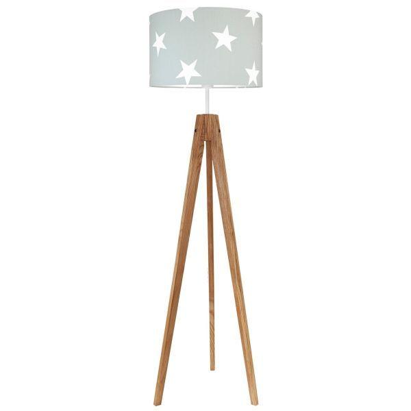 drewniana lampa podłogowa abażur w gwiazdy