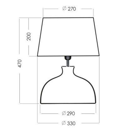 niewysoka lampa stołowa szklana
