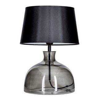 Szklana lampa stołowa Haga - szara z czarnym abażurem