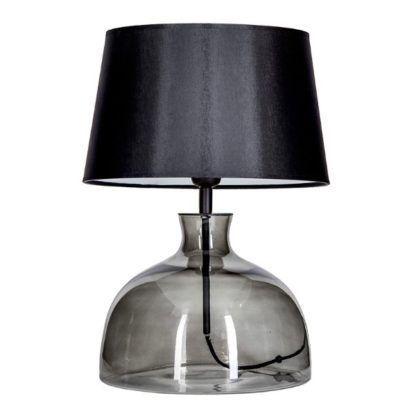szara szklana lampa stołowa z abażurem
