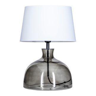 Szara lampa stołowa Haga - szklana, biały abażur