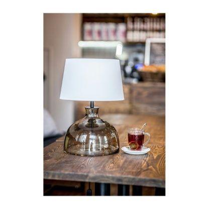 stylowa lampa stołowa z białym abażurem