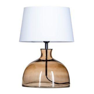 Szklana lampa stołowa Haga - beżowa z białym abażurem