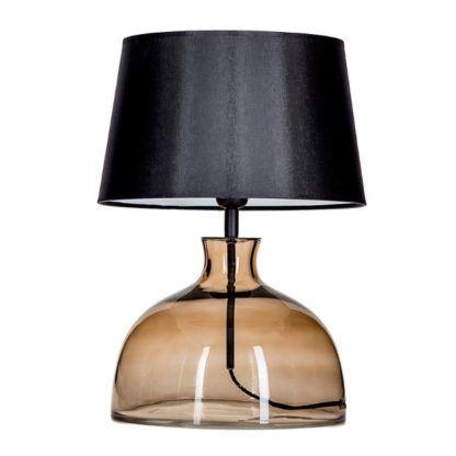 beżowa lampa stołowa ze szkła