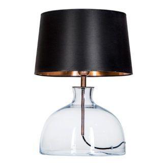 Lampa stołowa Haga - szklana, z abażurem