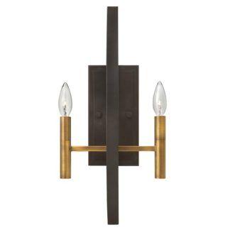 Metalowy kinkiet Euclid - ciemny brąz, złote świeczniki